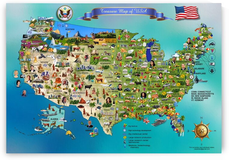 Americas Treasure Map. USA by Radiy Bohem