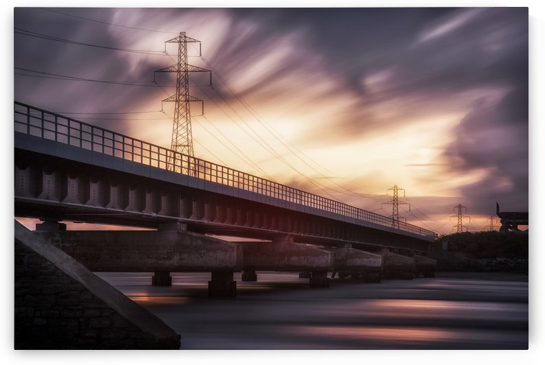 Loughor estuary rail bridge sunset by Leighton Collins