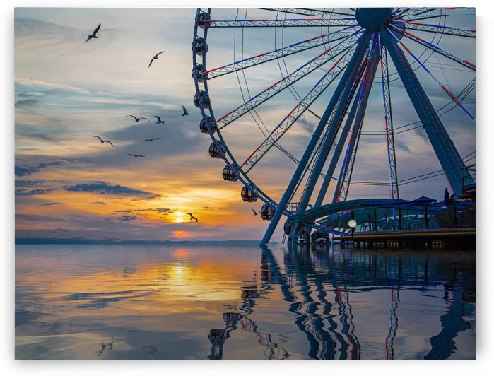 Great Wheel at Sunset with Birds Reflected by Darryl Brooks