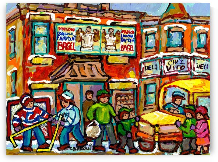 FAIRMOUNT BAGEL MONTREAL PAINTING CHEZ VITO WINTER CITY SCENE by Carole  Spandau