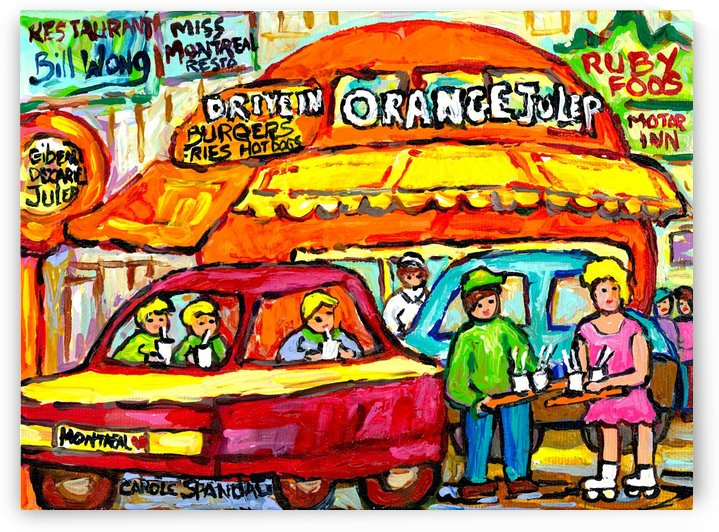 ORANGE JULEP MONTREAL DECARIE LANDMARK MONTREAL PAINTINGS by Carole  Spandau