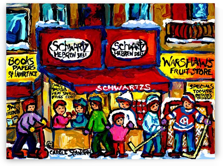 SCHWARTZ S DELI MONTREAL MONTREAL WINTER SCENE PAINTING  by Carole  Spandau