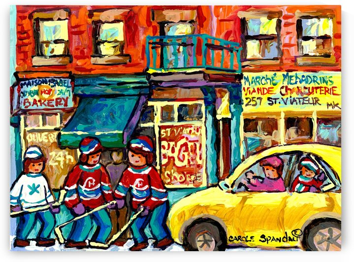 ST VIATEUR BAGEL MONTREAL WINTER CITY SCENE by Carole  Spandau