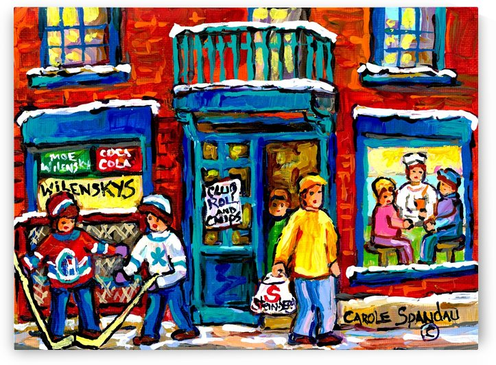 WILENSKYS DINER FAIRMOUNT AND CLARK MONTREAL WINTER HOCKEY PAINTING by Carole  Spandau