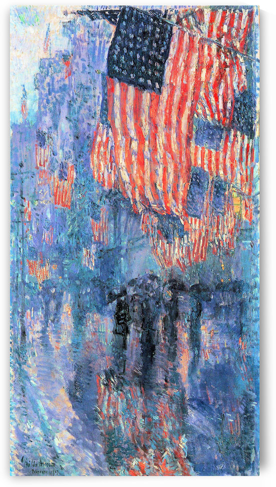 Street in the rain by Hassam by Hassam