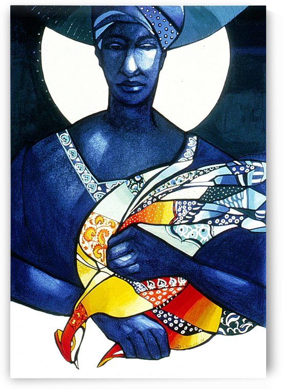 Blue Woman with a bird by Marie-Denise Douyon