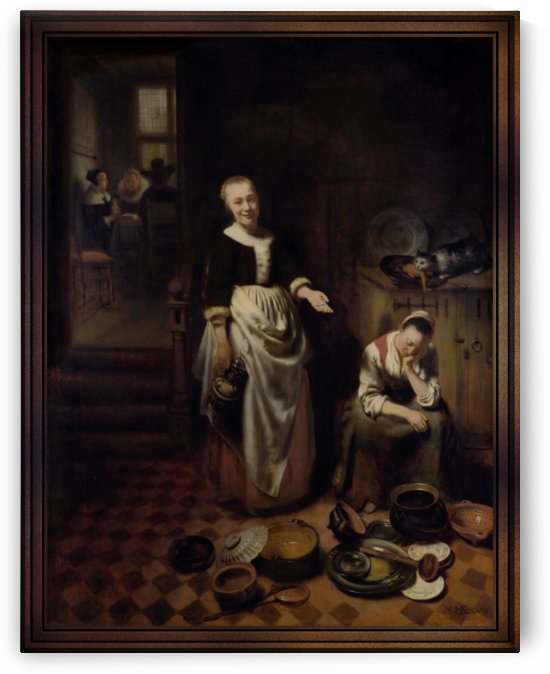 The Idle Servant by Nicolaes Maes Old Masters Prints by xzendor7