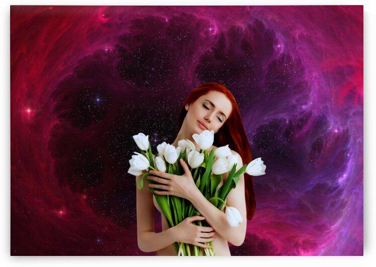 Girl with tulips. Madonna 3 by Radiy Bohem