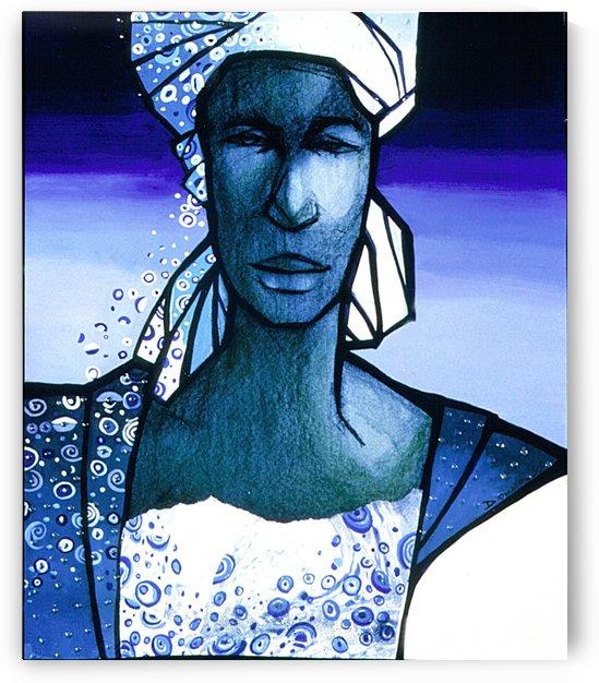 femme au turban bleu by Marie-Denise Douyon