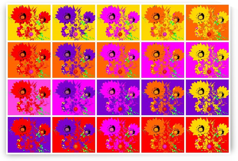 Rainbow Flowers - Collage 2 by Lexa Harpell