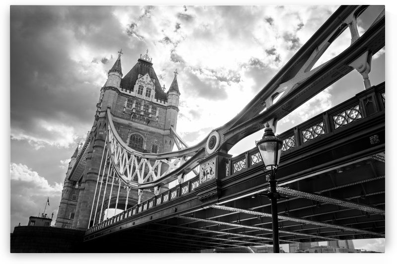The Might of Tower Bridge Black and White by Bunnoffee Photography