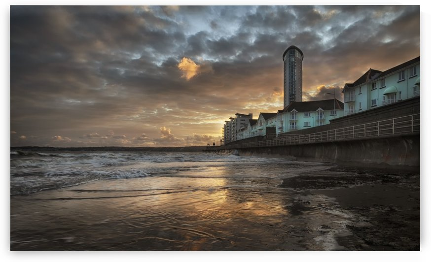 High tide at sunset in Swansea by Leighton Collins
