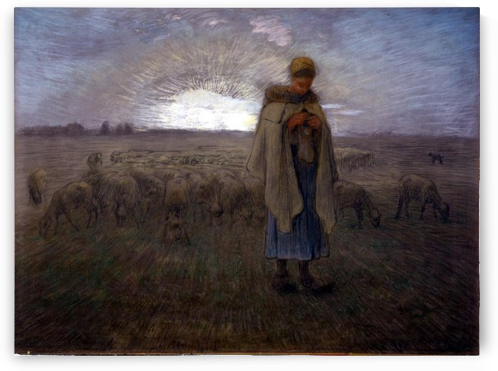 Young shepherdess by Jean-Francois Millet