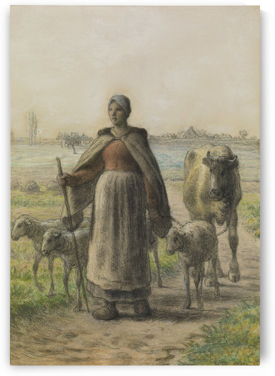 Shepherdess with small flock by Jean-Francois Millet