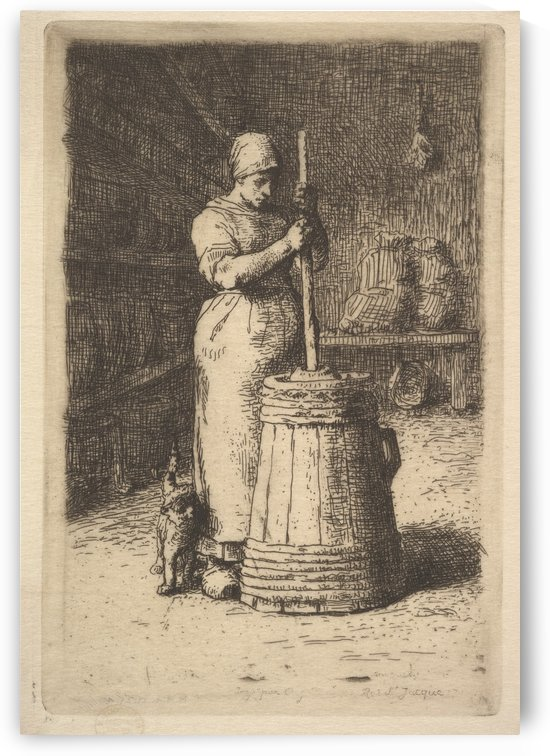 Woman churning butter by Jean-Francois Millet