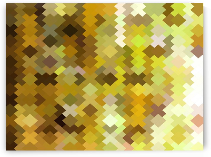 geometric square pixel pattern abstract in yellow and brown by TimmyLA