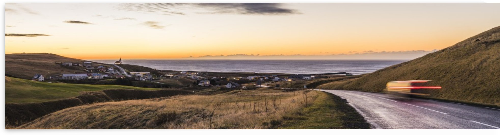 Town of Vik at sunset Iceland by Atelier Knox