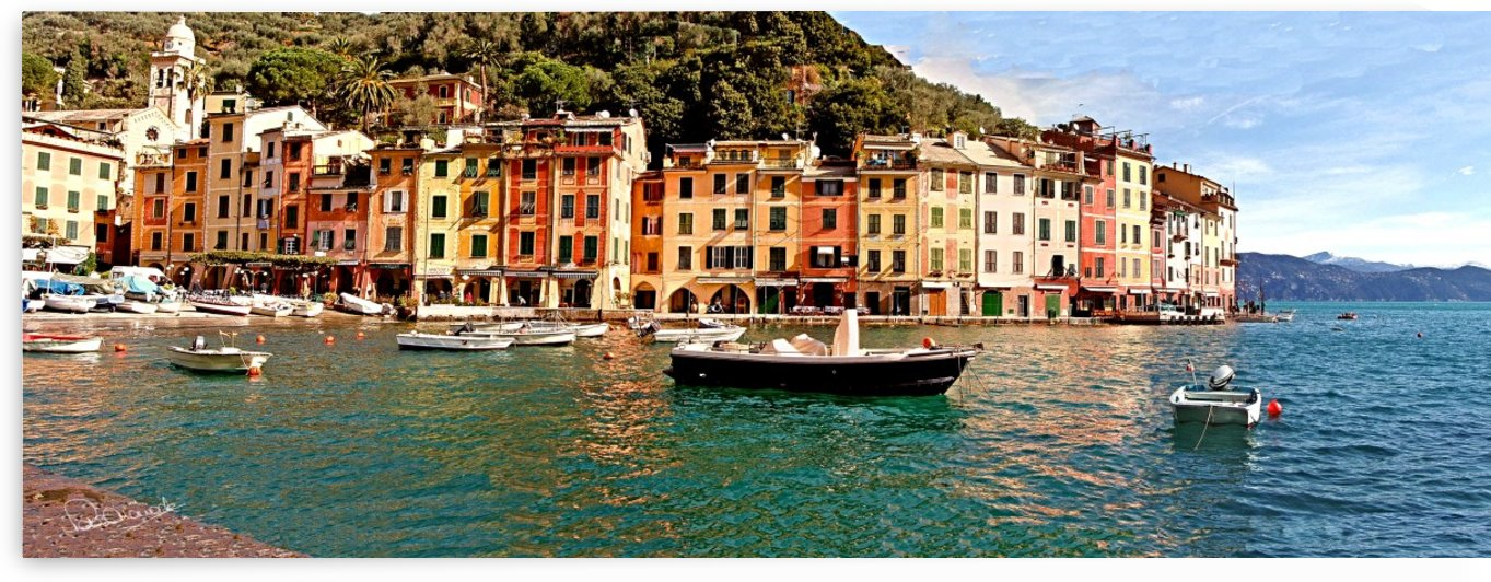 Portofino Harbor Panorama by Shadow and Form