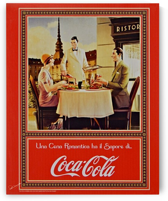 Vintage Italian Coca Cola Poster by Shadow and Form