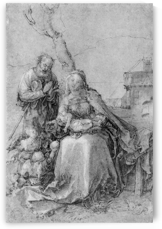 The Holy Family with angels under trees by Albrecht Durer
