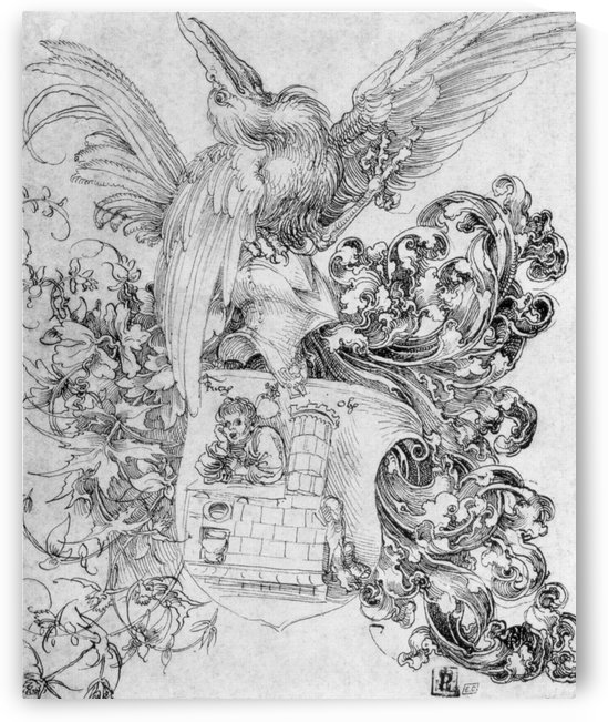 Coat of arms with open man behind by Albrecht Durer