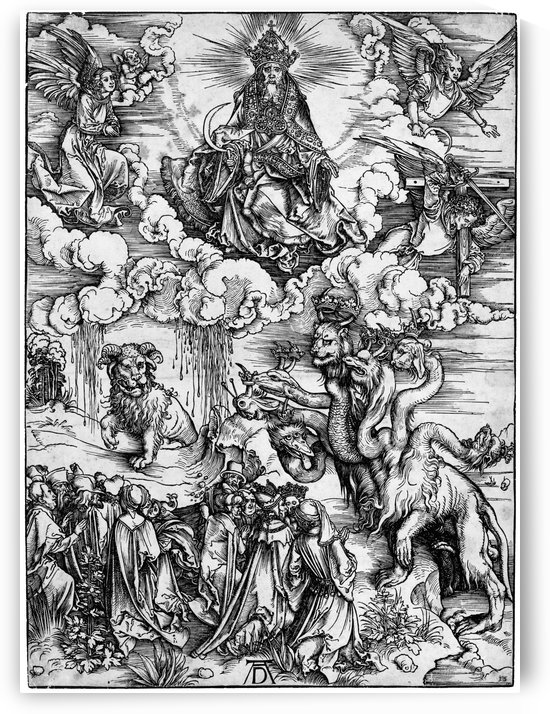 The Revelation of St John The Sea Monster and the Beast with the Lambs Horn by Albrecht Durer