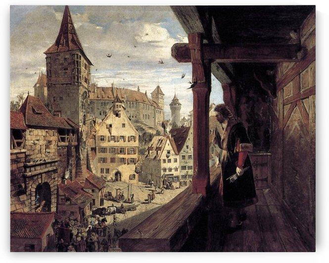 Albrecht Dürer on the Balcony of his House by Albrecht Durer