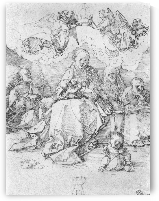 Holy Family crowned by two angels by Albrecht Durer