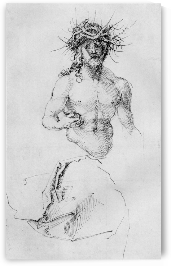 Study sheet with Christ as Man of Sorrows and a garment study by Albrecht Durer