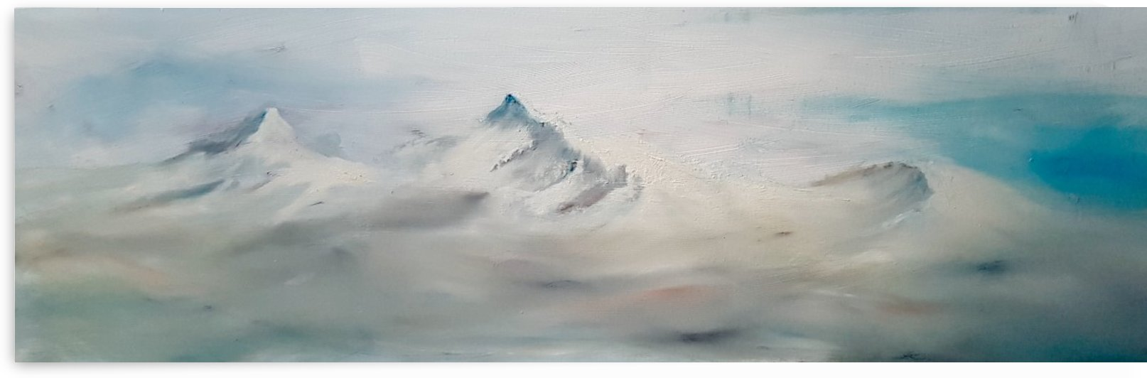 Misty snowy mountains  by Jackie Rimmer