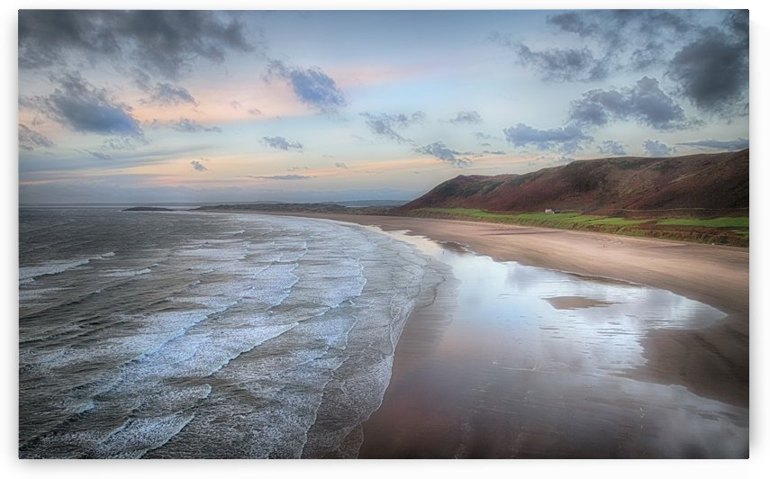 Dusk at Rhossili Bay by Leighton Collins
