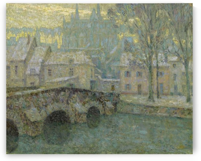 Chartres in Snow by Henri Le Sidaner