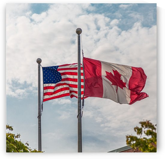 American and Canadian Flags by Darryl Brooks