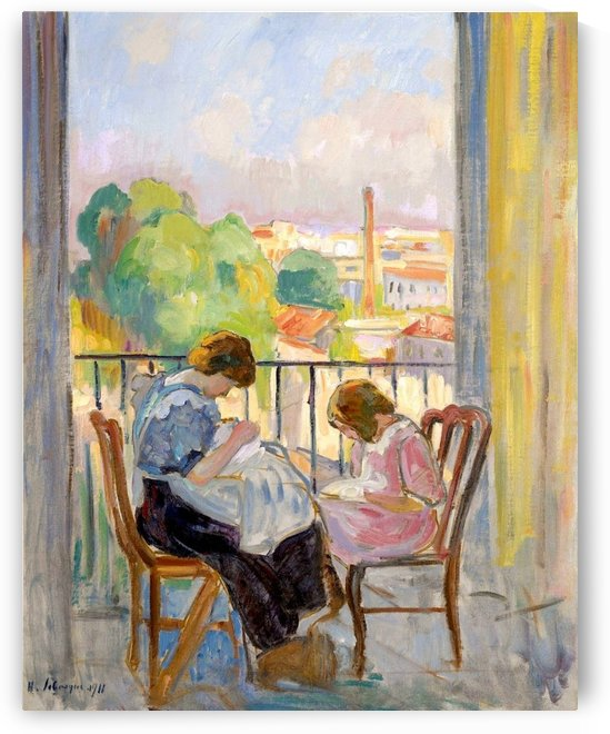 Madame Lebasque and Her Daughter Sewing near the Window by Henri Lebasque