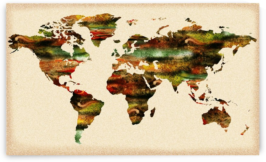 Watercolor World Map Vintage Brown by Irina Sztukowski