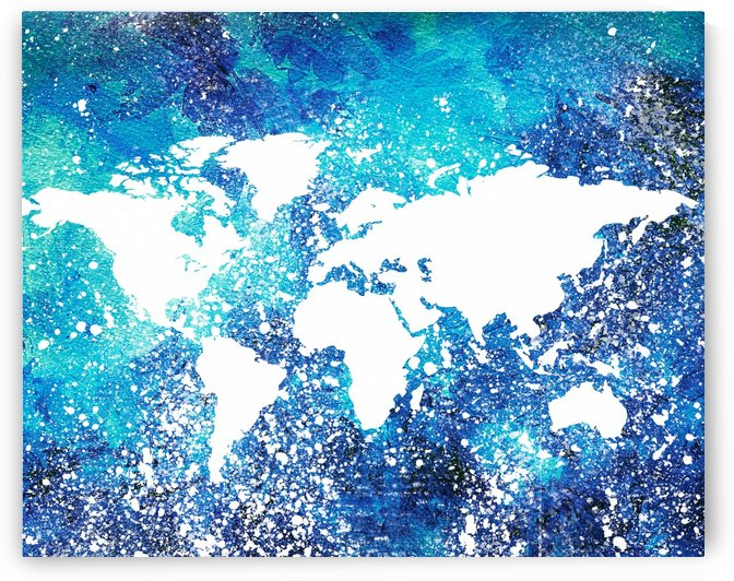 White And Teal Watercolor Silhouette World Map  by Irina Sztukowski