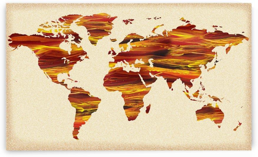 Watercolor Silhouette World Map Terra Lines by Irina Sztukowski