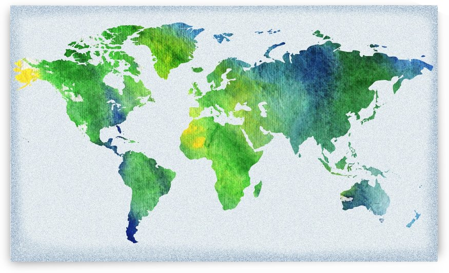Watercolor Silhouette World Map Peaceful Green  by Irina Sztukowski