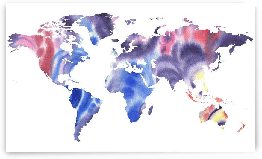 Watercolor Silhouette World Map Purple Blue by Irina Sztukowski