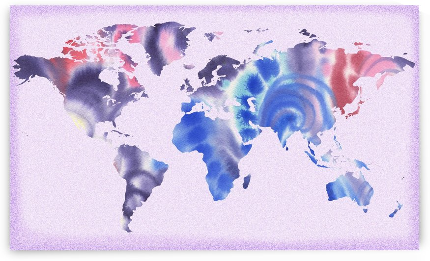 Watercolor Silhouette World Map Lilac Blue And Purple by Irina Sztukowski