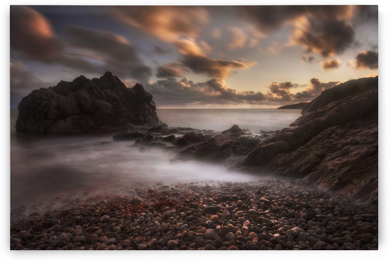 Sunset on Rotherslade Bay by Leighton Collins