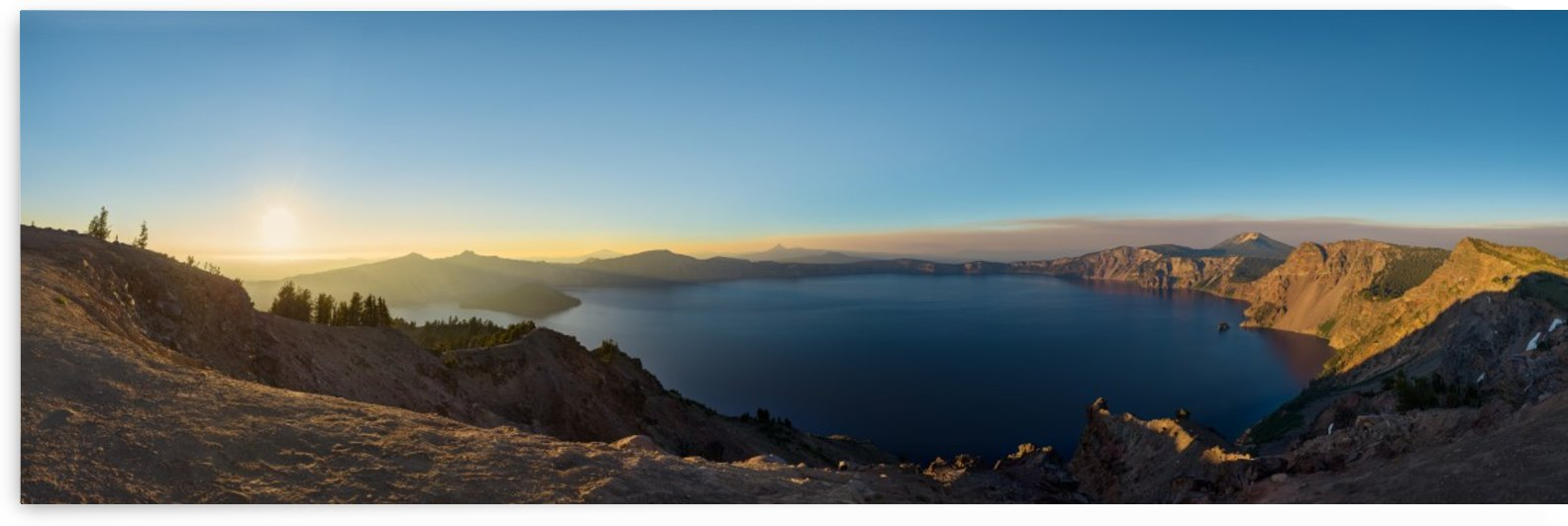 Panorama of Crater Lake National Park at sunset by Em Campos