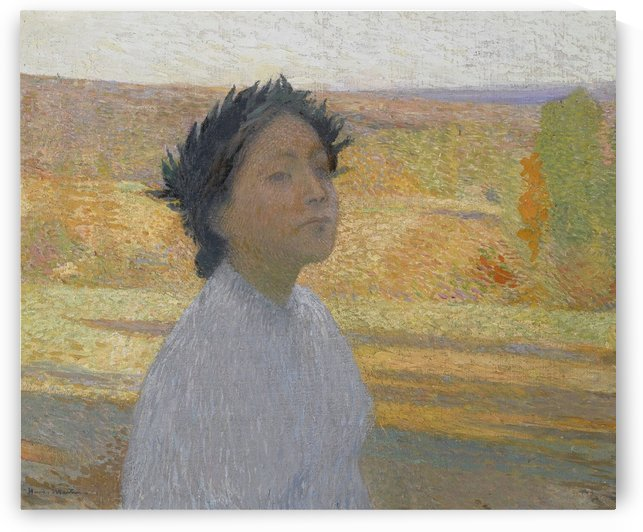 Bust of Young Woman in a Laurel Wreath by Henri Martin