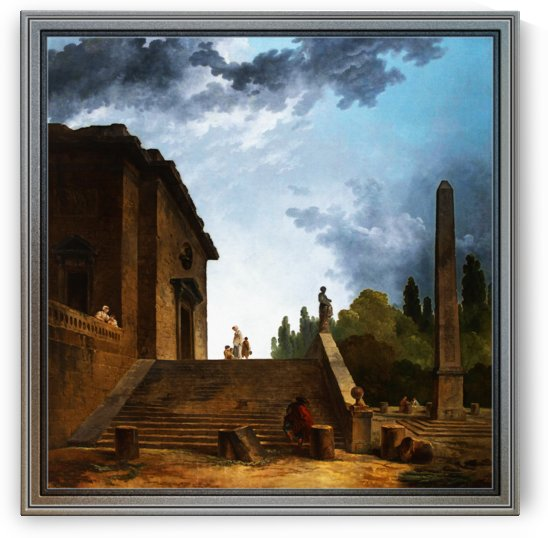 Landscape with a Stairs and Obelisk by Hubert Robert by xzendor7