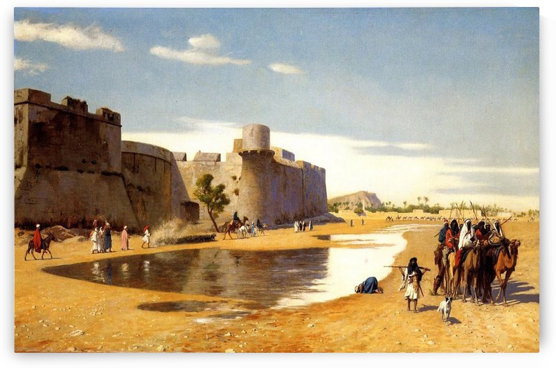 Arab Caravan outside a Fortified Town by Jean-Leon Gerome