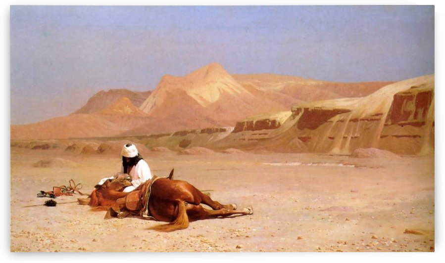 The Arab and his steed in the desert by Jean-Leon Gerome
