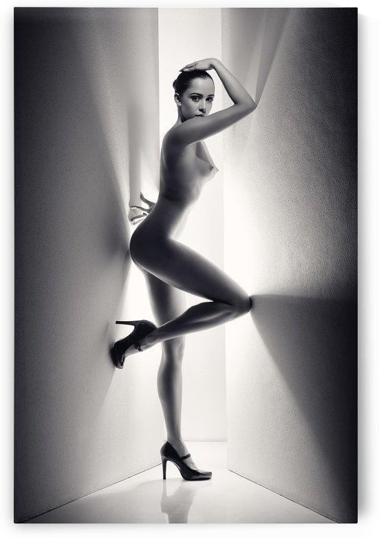 Nude Woman between walls by Johan Swanepoel