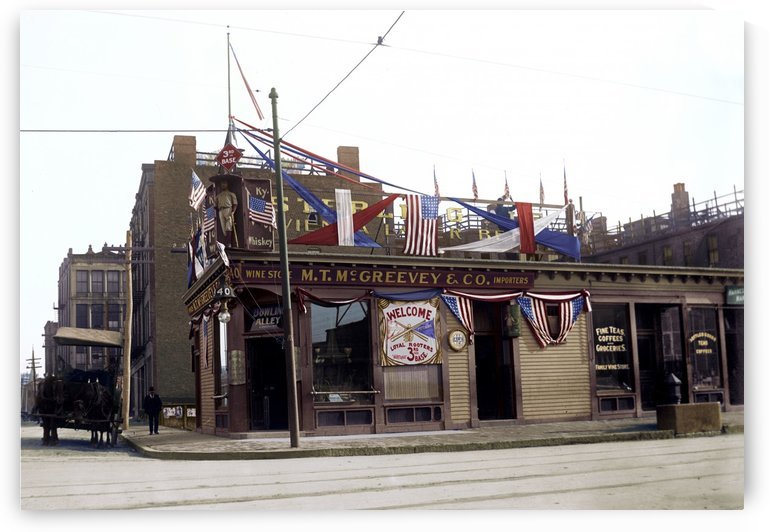 McGreevys Third Base Saloon Boston 1903 by Canadian Colour