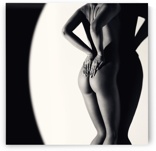 Nude Woman against wall by Johan Swanepoel