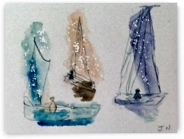 I Saw Three Boats A Sailing By  by Zaramar Paintings